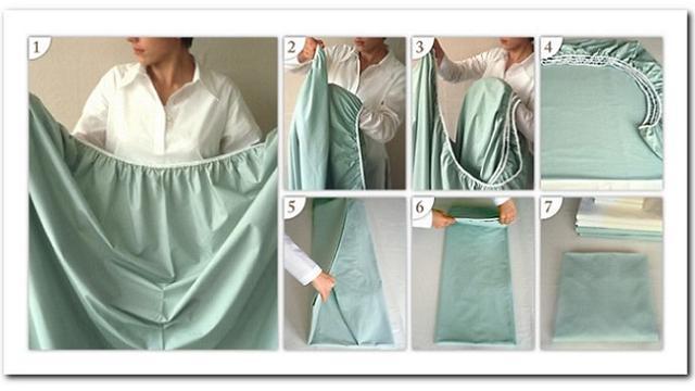casalinga alle prese con un lenzuolo