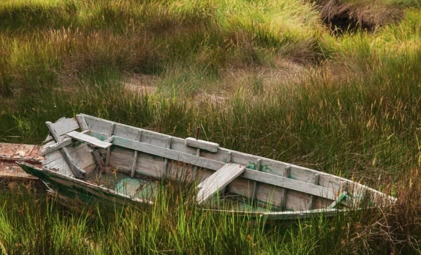 barca nel prato