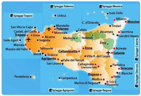 mappa sicilia con citta