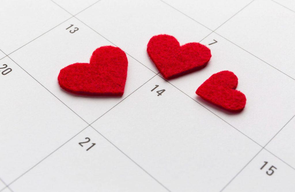 Calendario e cuoricini
