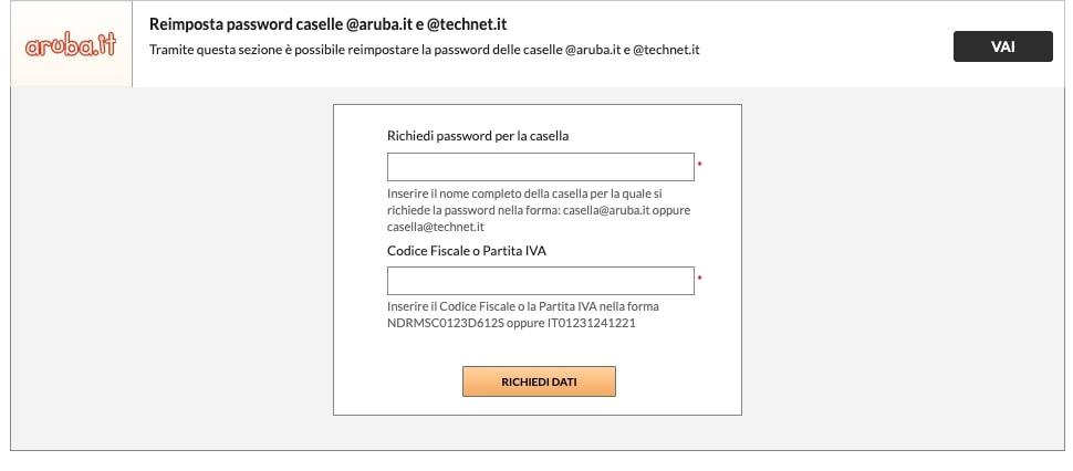 recuperare password email aruba