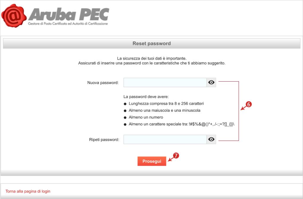 recupero password per aruba