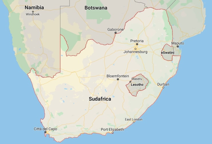 cartina sudafrica