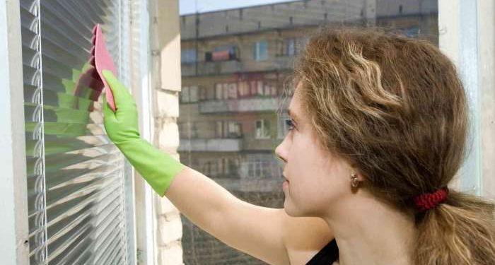 ragazza pulisce finestra e veneziane