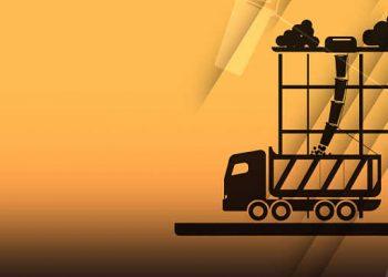 camion che smaltisce calcinacci e detriti edili