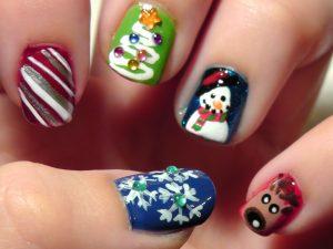 Nail art Natale pupazzo