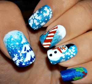 Nail art Natale palle di neve