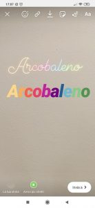 Esempio scritta arcobaleno instagram