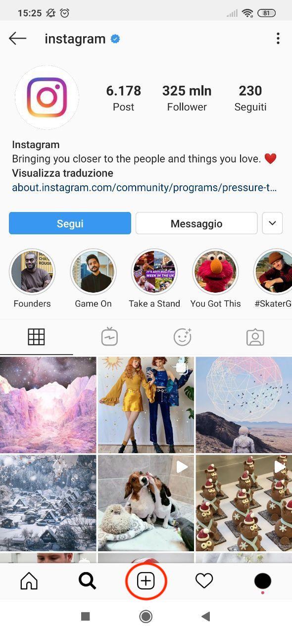 Pagina di Instagram