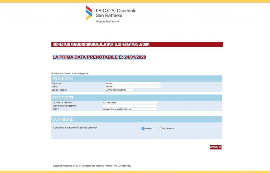 Compilazione con dati personali