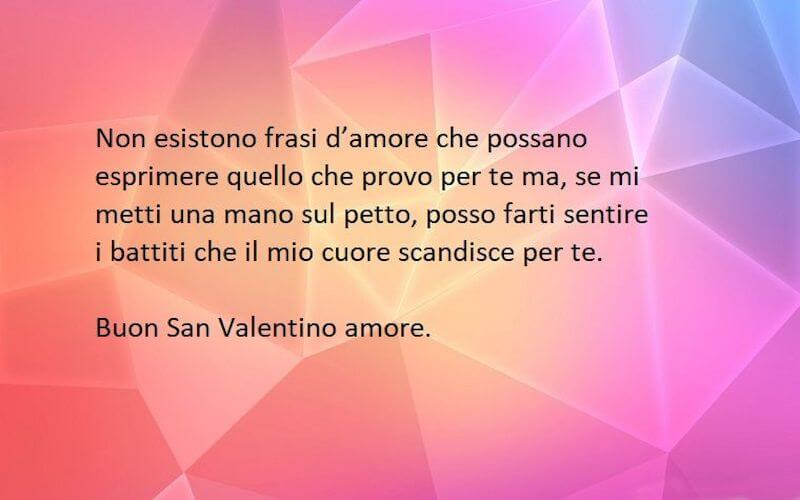 Frase d'amore battito del cuore san valentino