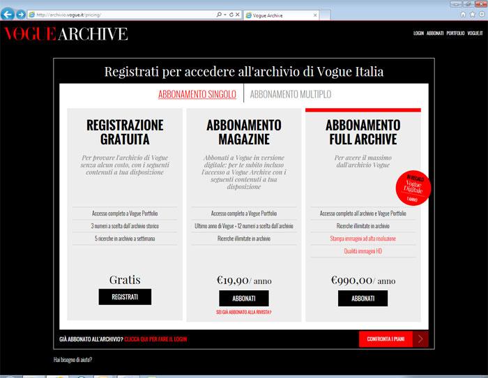 registrazione vogue full archive