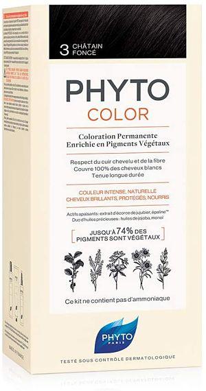 Phyto Phytocolor 3 Castano scuro - Colorazione permanente a base di pigmenti vegetali