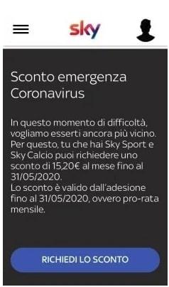 sky sconto emergenza coronavirus