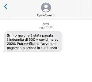 sms conferma bonifico 600 euro