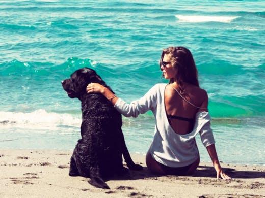 ragazza e cane al mare